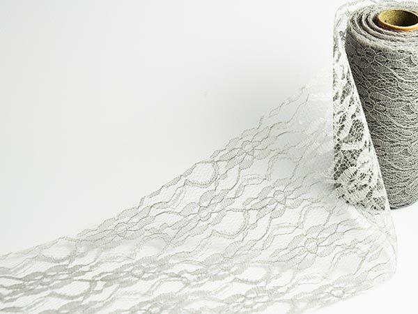 Tischband Spitze Grau 150mm x 15m