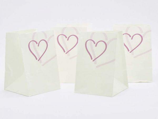 Lichtertüte Herzen Weiß/Lila 11x11x16 cm 4er Pack