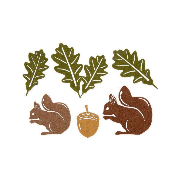 Filzsortiment Eichhörnchen Eichel Eichblätter 4-7 cm bei Tischdeko-Shop.de