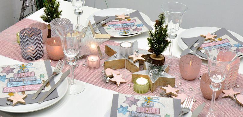 Weihnachtliche Tischdekoration Vintage Rosa Silber Bei Tischdeko