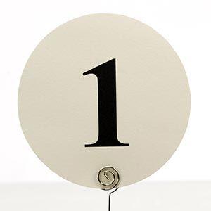 Tischkarten nummeriert rund 1 - 12 Ivory Creme