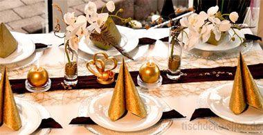 Tischdeko weihnachten gold  Tischdekoration in Gold mit Perlen kaufen | Tischdeko-Shop