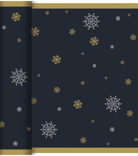 Tete a Tete Snowflake Necklace Black Duni Dunicel 40cm x 24m bei Tischdeko-Shop.de