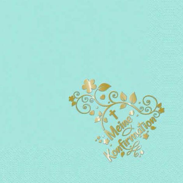 Servietten Mint Gold-Prägung Konfirmation 33x33cm 10 Stück bei Tischdeko-Shop.de