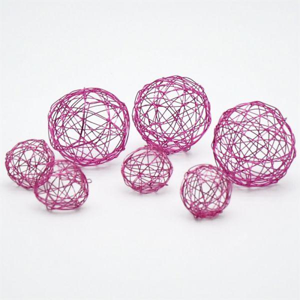 Deko-Kugeln Drahtgeflecht Pink 7-teiig 2 Größen