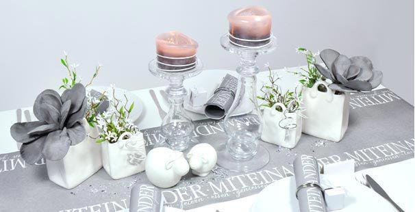 Tischdekoration Miteinander Feiern Grau Tischdeko Shop