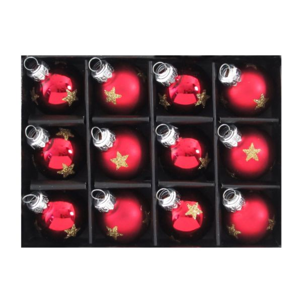 Glas Kugel Hänger Stern Rot 3cm 12er Box
