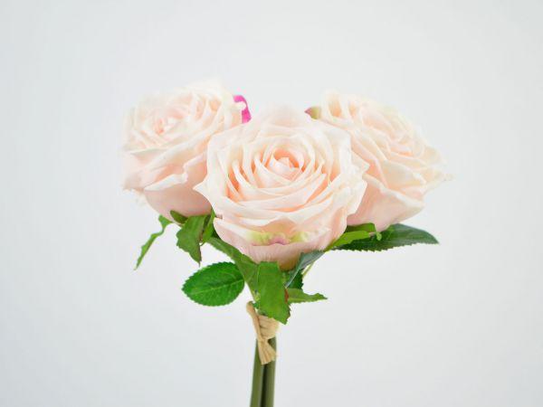 Rosen-Bund Real Touch Lachs-Rosa 3 Blüten 30cm bei Tischdeko-Shop.de