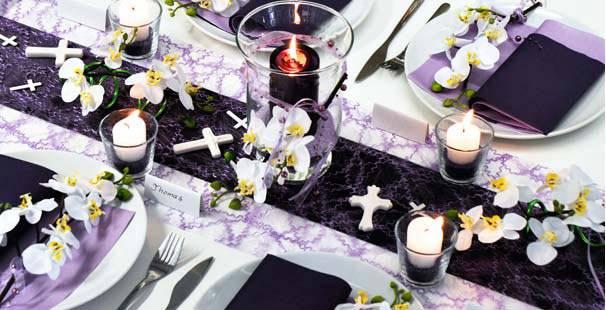 Tischdeko kommunion lila - Tischdeko orchideen ...