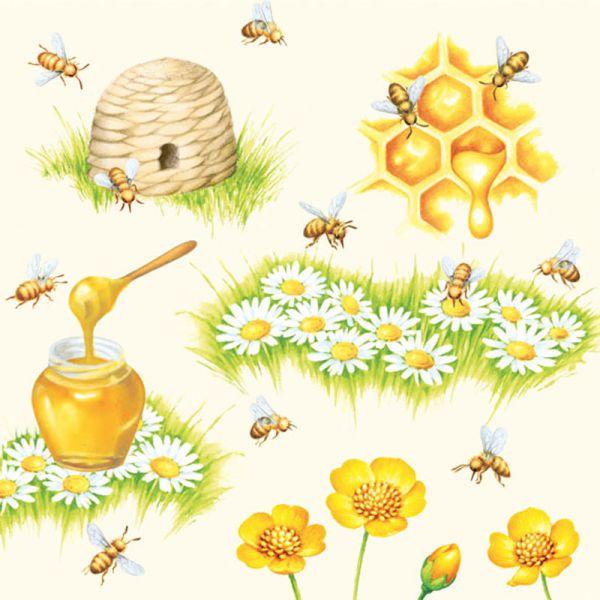 Serviette Bees 33x33cm 20er Pack bei Tischdeko-Shop.de