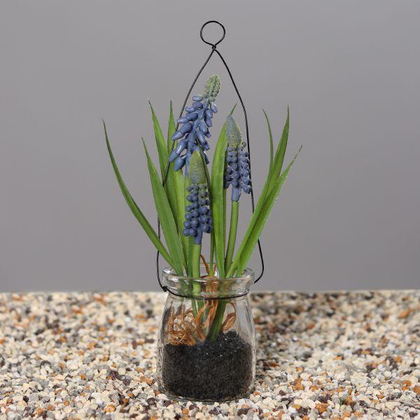 Traubenhyazinthe im Glas blau 21 cm bei Tischdeko-Shop.de