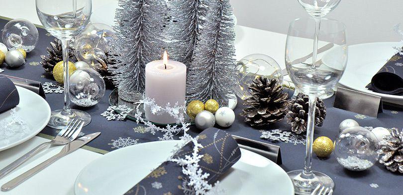 Tischdekoration Weihnachten Snowflakes Black