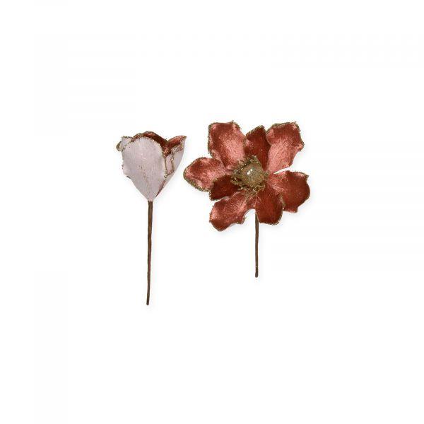 Samt-Blüten Altrosa mit goldenem Glitter-Rand 13 cm bei Tischdeko-Shop.de
