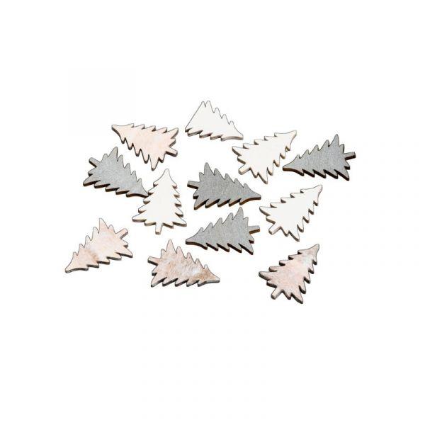 Streudeko Tanne Weiß Silber Creme 2cm Holz 24 Stück