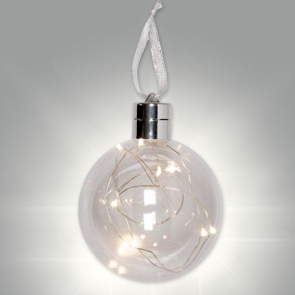 Befüllbare LED Weihnachtskugel Ø10cm bei Tischdeko-Shop.de