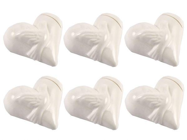 Kartenhalter Porzellan Herz mit Taubenmotiv weiß 6er Set bei Tischdeko-Shop.de