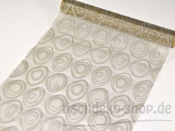 Organzaband Taupe mit Glitter 280mm x 2,5m