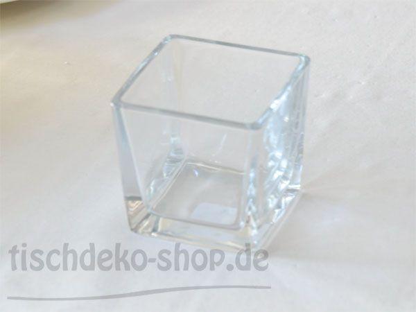 Quadratische Glas-Vase leicht konisch 10x10cm 6er Vorteilspack