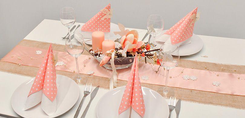 Tischdekoration Jute Trifft Apricot Kaufen Tischdeko Shop