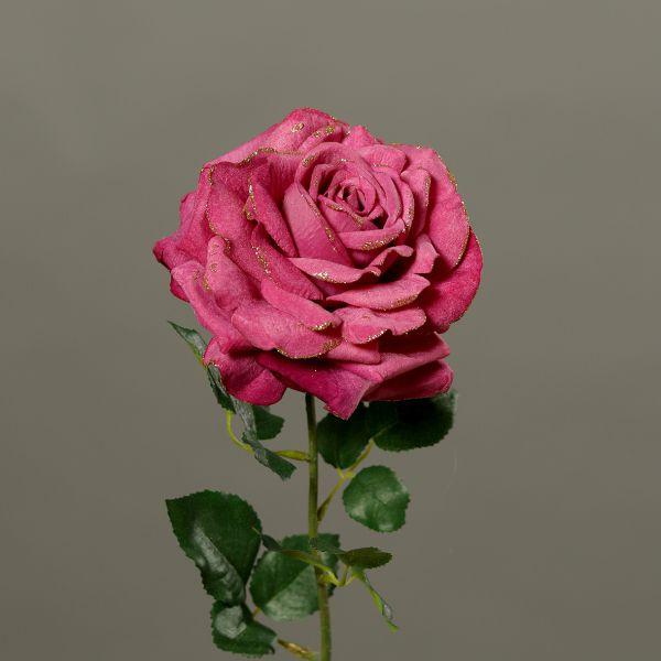 Rose Velvet Pink mit Gold Glitter 51cm bei Tischdeko-Shop.de