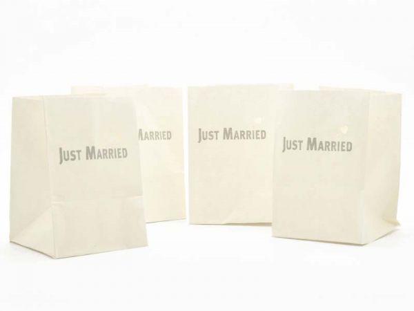 Lichtertüte Just Married 11x11x16 cm 4er Pack