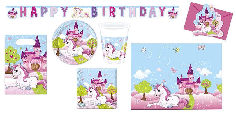 Kinder Partyset Unicorn Einhorn 50 Teilig Fur 6 8 Kids Bei
