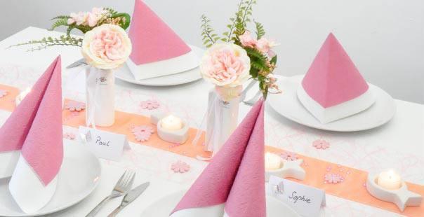 moderne deko kommunion, tischdekoration in rosa apricot mit fischen   tischdeko-shop, Design ideen