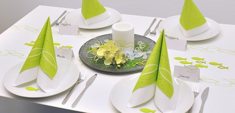 Tischdeko zur kommunion konfirmation zum thema fisch in for Tischdeko fisch