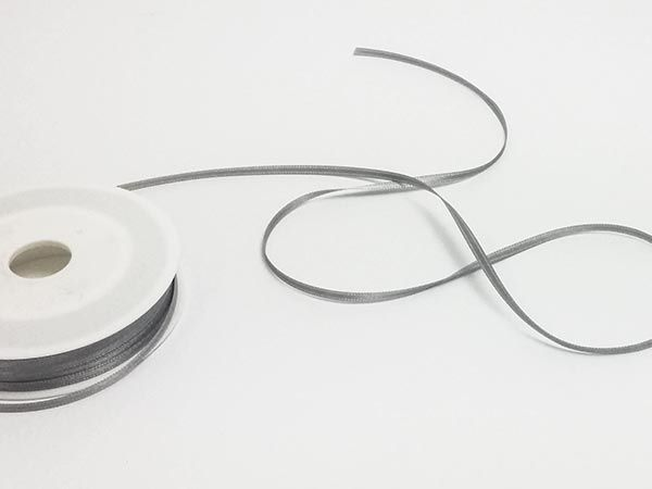 Dekoband Satin Grau 3mm 50m Rolle