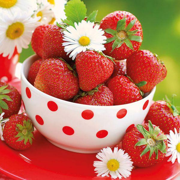 Serviette Stawberries in Bowl 33x33cm 20er Pack bei Tischdeko-Shop.de