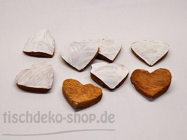 Streudeko Herz Kokos weiß 8 Stk. Ø7cm