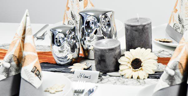 Tischdekoration In Grau Braun Eulen Kaufen Tischdeko Shop
