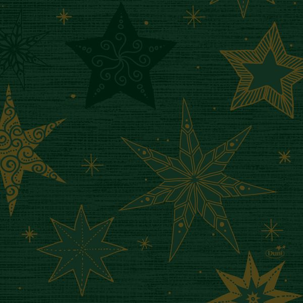 Serviette Duni Go Star Stories Green 33x33cm 250er Pack bei Tischdeko-Shop.de