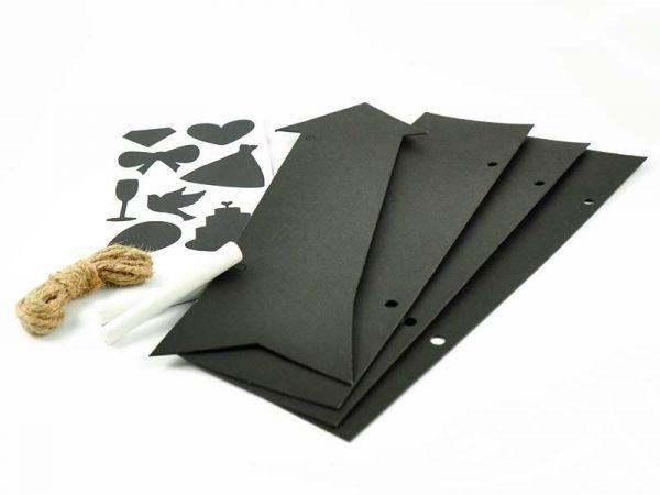 Tafelschilder Set: 4 Tafeln 8 Sticker 2 Kreidestifte Kordel