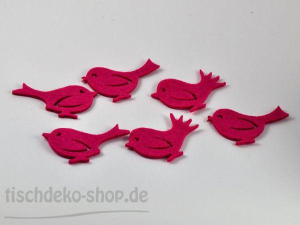 Vögel Streudeko Filz Pink 7x4cm