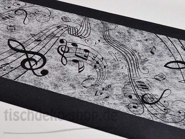 Vliesband Tischläufer 0,30 x 5 Meter Weiß mit Noten-Druck