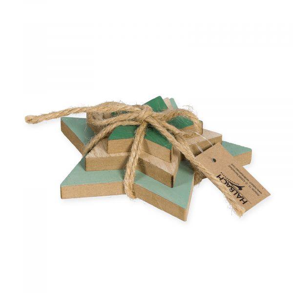 Deko-Sterne Holz Mint Natur Grün als Päckchen bei Tischdeko-Shop.de