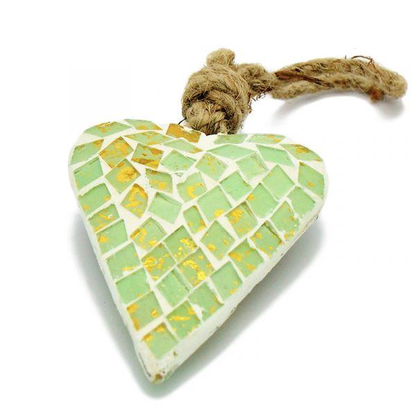 Mosaik-Herz Hänger Delite Glas Grün 9cm bei Tischdeko-Shop.de