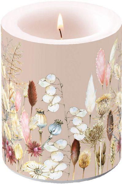 Stumpen-Kerze Potpourri Beige Trockenblumen-Motiv 75h bei Tischdeko-Shop.de