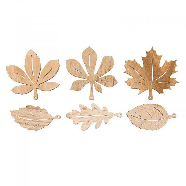 Herbstblätter Sortiment Holz Natur 8,5-9,5cm bei Tischdeko-Shop.de
