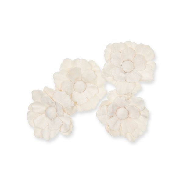 Samt-Blüten Streudeko 5,5cm Cream 4er Pack bei Tischdeko-Shop.de