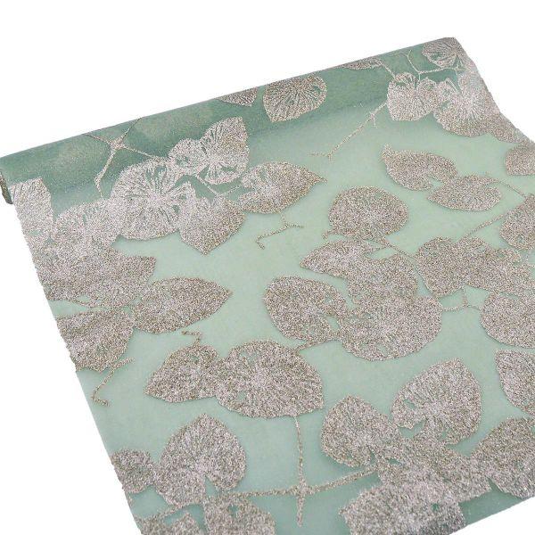 Dekoband / Tischband Leavette Lindgrün mit Glitter 2,5m x 47cm bei Tischdeko-Shop.de