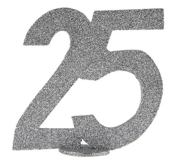 Jubiläums - Zahl 25 Silber Glitter Aufsteller