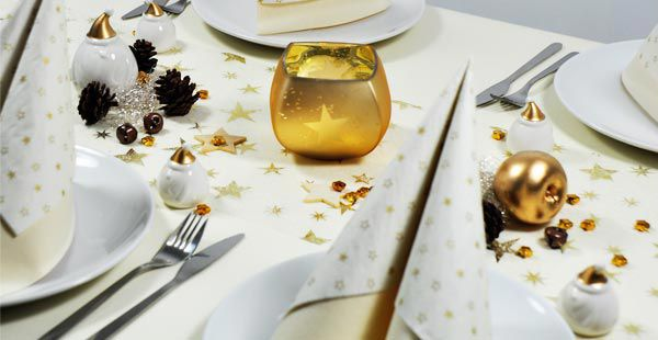 Tischdekoration In Creme Gold Mit Nikolaus Kaufen Tischdeko Shop