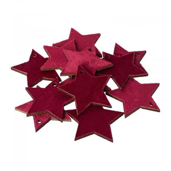 Holz-Sterne mit Samt-Oberfläche Purpurrot 5cm 12 Stück bei Tischdeko-Shop.de