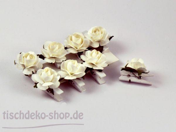 Papier-Rosen-Clip weiß