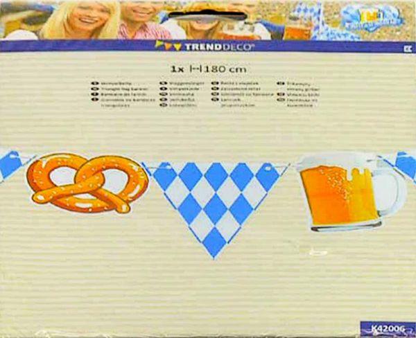 Wimpelkette Bayern Oktoberfest Brezeln Bier 1.8m bei Tischdeko-Shop.de