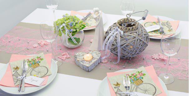 Tischdekoration In Vintage Greige Rosa Kaufen Tischdeko Shop