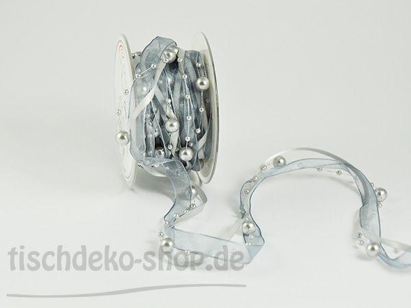 Satin-Organzaband 3 Bänder mit Perlen 5m-Rolle Grau/Silber