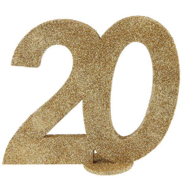 Jubiläums - Zahl 20 Gold Glitter Aufsteller bei Tischdeko-Shop.de